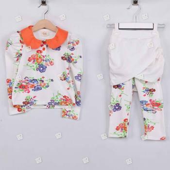 2013 New Arrival Fashion Spring  Autumn Girls' Flower Suits Kids Cotton Clothes Children's Wear Clothing Sets Apparel tz0454