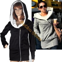Fashion Jacket sweatshirts for women Hoodie Warm outerwear jackets coats Hooded Black Grey 3269