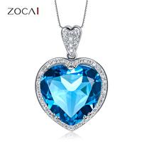 ZOCAI ZODIAC GEM 7.0 CT TOPAZ 0.21CT DIAMOND 9K WHITE GOLD BLUE HEART PENDANT + 925 STERLING SILVER CHAIN NECKLACE D02493
