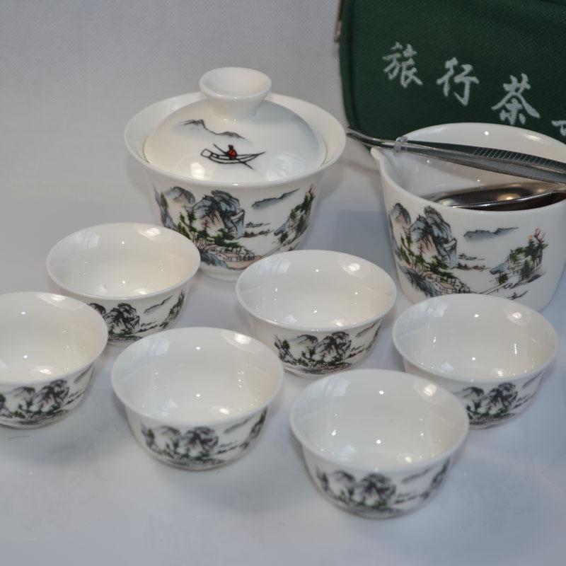 Portable travel tea sets tureen tea sea tea colander tea folder porcelain Gaiwan cups and bag free shipping(China (Mainland))