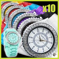 10PCS/lot Wholesale Fashion Jelly Silicone Classic Gel Crystal Wrist Watch Quartz Lady Women Girls Mint Green Free Shipping