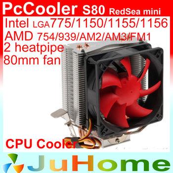 Retail box, 80mm fan, 2 heatpipe, tower side-blown, Intel 775/1155/1156, AMD 754/939/AM2+/AM3/FM1/FM2, CPU cooler, PcCooler S80