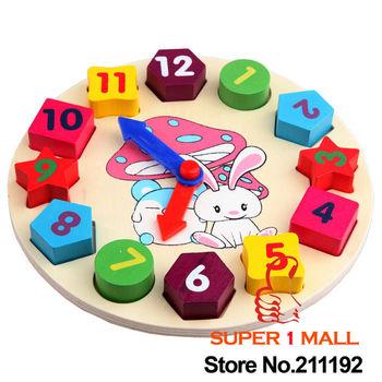 Wooden toy Digital Geometry Clock Children's educational toy building blocks x8078