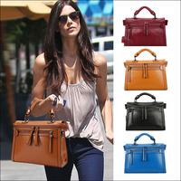 Fashion Vintage Double Zipper Genuine Leather Handbag Women Messenger Bags Satchel Cross Body Purse Ladies Bag 8 colors optional