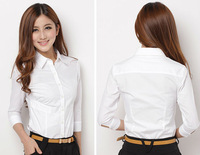 OK Freeshipping spring summer white women female lady work slimming fit elegant  s m L shirt blouse cloth top FZ-W001-50SQFXCS