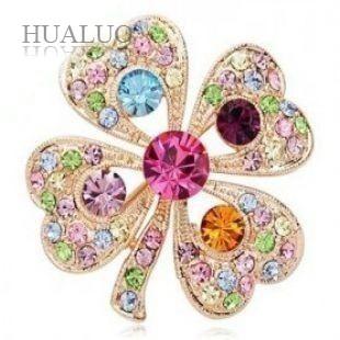 Japan & Korea Popular Jewelry Romantic Heart Rhinestions Happiness Clovers Brooch X29(China (Mainland))