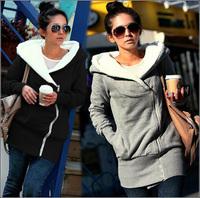 women autumn winter  coat jacket black fashion clothes warm hoodie gray   free shipping 617