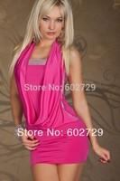 Plus size M XXL Free Shipping Sexy Women Dress Bare shoulder Purple Mini Night Club Nightclub Clubwear 8870