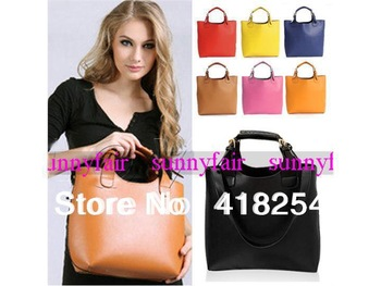 Vintage Celebrity PU Leather Tote Shoulder Shopper Bag Women Handbag Mult Color