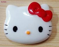 Red Bow Hello Kitty Face Cabochons 38*45mm Flatback Resin Deco DIY Materials