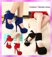Free Shipping Remove Two Wear Hidden Platform Hasp Ankle-Wrap Women High Heels Pumps Shoes Sexy Stiletto Free Gifts