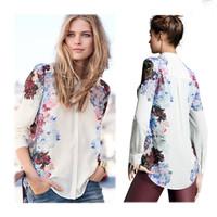 Women Shirt 2014 New Vintage Print Flower Blouse Fashion Chiffon Shirt Women Clothing #SX8948