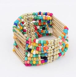 Min. order is $10(mix) multi color beads bracelet fashion stretch statement bohemian bracelets for women 2013 jewelry wholesale(China (Mainland))