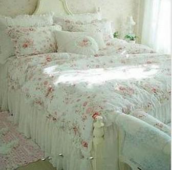 Mint Green Bed Sheets Free shipping Vintage Red Rose princess Bedding set floral ...