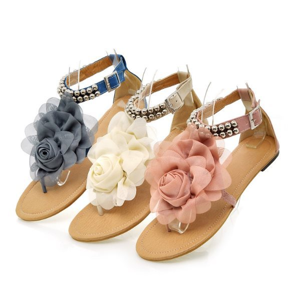 Big Size 34-43 Bohemia 2013 Sandals Female Beaded Flower FLat Flip-flop flats Women's Shoes Free shipping SA127(China (Mainland))