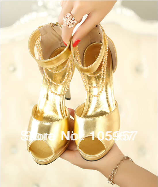 2014 summer women's open toe high heels platform sandals back zipper crystal chain ankle wrap fashion casual women shoes sandals(China (Mainland))
