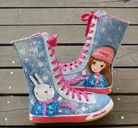 Free shipping child canvas shoes female child high single boots princess shoes (20cm-23.5cm)