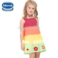 flower girl clothes NOVA kids baby girl dress girl print dress brand children's clothing fashion 2014 baby & kids dress H3768