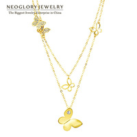 Neoglory 14K Gold Plated Choker Chain Necklaces for Women Butterfly Designer Pendant Fashion Brand Jewelry Gift 2014 New JS6