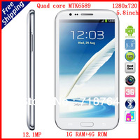 Free shipping Star S7589 Note III Android 4.1 Cell Phone 5.7''  Screen MTK6589 Quad core 1GB RAM 12MP Camera White Black