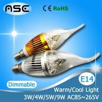 Dimmable Epistar 3W 4W 5W 9W E27 LED E14 Candle Light Lamp CE&ROHS Warm White/ Cool White 10PCS/LOT