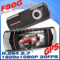 100% Original F90G Allwinner F20 Car DVR GPS Dual Lens With GPS 1080P  + 2.7' LCD with G-Sensor +External IR Rear Camera OT5