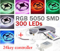 Nonwaterproof  5050 RGB Led Strip Light 5M 30led/m  +24 key Remote Controller