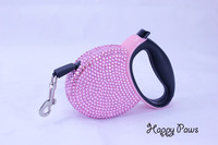 Girls love luxry rhinestone retractable pet dog cat  lead leash 20kg 3m belt Dog collar harness lead traction rope Free Shipping