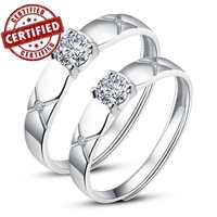 (2 pieces /a pair) Certified 100% Solid Sterling silver 925 ,Couples ,Promise , Open engagement Ring sets ,2013 Gorgeous jewelry