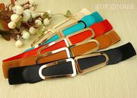 woman belt Women's cummerbund all-match brief elegant double d bag buckle glossy xh-jd elastic wide belt women's belt