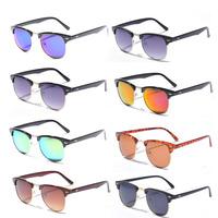 10 Colors New 2015 Retro Clubmaster Sunglasses Men Fashion Half Frame Metal Vintage Coating Sunglass Women Brand Oculos Man
