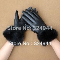 2014 fur genuine leather gloves for women sheepskin gloves fashion winter gloves women short gloves free shipping