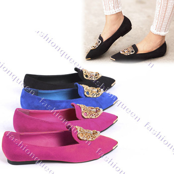 New flat loafers women shoes fashion Ballet Low Heels Leopard Head Lady flats shoes Metal Pointy Toe 11317