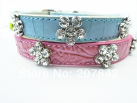 With 4 Bling Rhinestone Flower Charms !  Personalized Croc Leather  Rhinestone Dog Collar