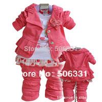 Girls Clothing Set Baby Baby Girls Suit Set Children's 3-piece Set  Jacket+Pants+T-shirt 2014 Kid Apparel
