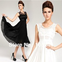 Free shipping low price promotion 2014 lace chiffon elegant expansion bottom dress,lady dress twinset  3size S,M L 8381