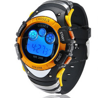 wholesale OHSEN brand sport watch boys child digital display waterproof silicone band 7 colours yellow fashion watches for gift