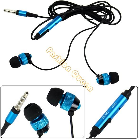 New Blue 3.5mm Stereo In ear earphone earbud headphones handsfree headset for HTC iPad iPhone Samsung 11710 11711 11712(China (Mainland))