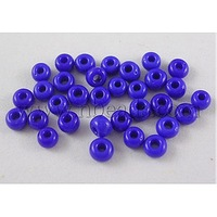 8/0 Glass Seed Beads,  Opaque Colours Seed,  Dark Blue,  about 3mm in diameter,  hole: 0.8mm,  about 10000pcs/bag