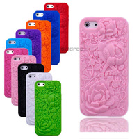Hot Sell New 3D Sculpture Rose Flower Case Soft Silicone Cover For Apple iPhone 5 5S Phone Case Free/Drop Shipping