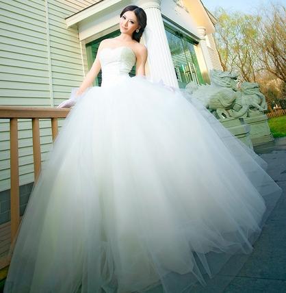 New sexy plus size wedding dress 2014 with tulle & organza custom made floor length bridal dress vestido de noiva for casamento(China (Mainland))