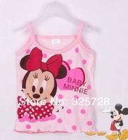 in stock MICKEY summer 100% cotton female child minnie mouse pink cartoon spaghetti strap vest girl's clothing children garment