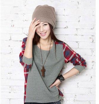 Hot !!! European fashion New Style Fashion Plaid Women Full Sleeve Tshirt Loose Comfortable Batwing Sleeve Top Tees shirt woman