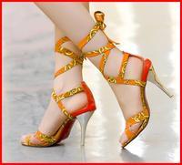 Free shipping 2014 new metal stiletto red bottom high heels women Sandals Orange sexy party summer Gladiator fashion women shoes