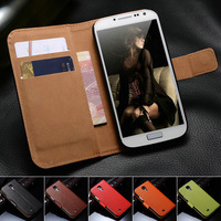 Genuine Leather Wallet Stand Phone Case for Samsung Galaxy S4 i9500 SIV Flip Book with Card Holder New Arrival, Free Screen Film