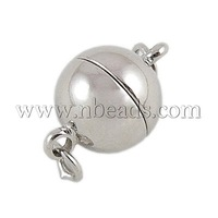 Brass Magnetic Clasps,  Soldered,  Nickel Free,  Round,  Platinum Color,  Size: about 8mm wide,  12mm long,  hole: 2mm