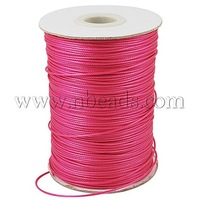Korean Waxed Polyester Cord,  Bead Cord,  DeepPink,  0.5mm,  about 185yards/roll