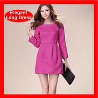 2014 Hot Selling European Brand Elegant  Long Sleeve Plus Size Summer Dress 3 Colors 268