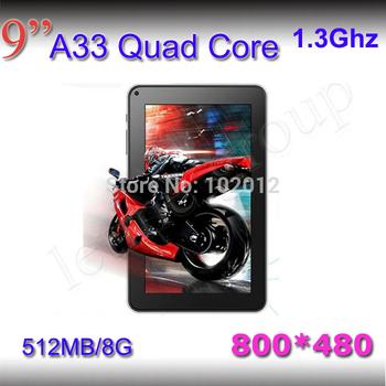 Quad core bluetooth 2pcs/lot 1.5GHZ! 1G/8GB 1024*600! allwinner A33 4000mAh dual camera Android 4.2  tablet 9 inch pc