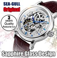 Real Luxury SAPPHIRE Original Seagull Brand Watch M182SK Tourbillon Men Automatic Mechanical Skeleton  Rose Gold Wrist Watches